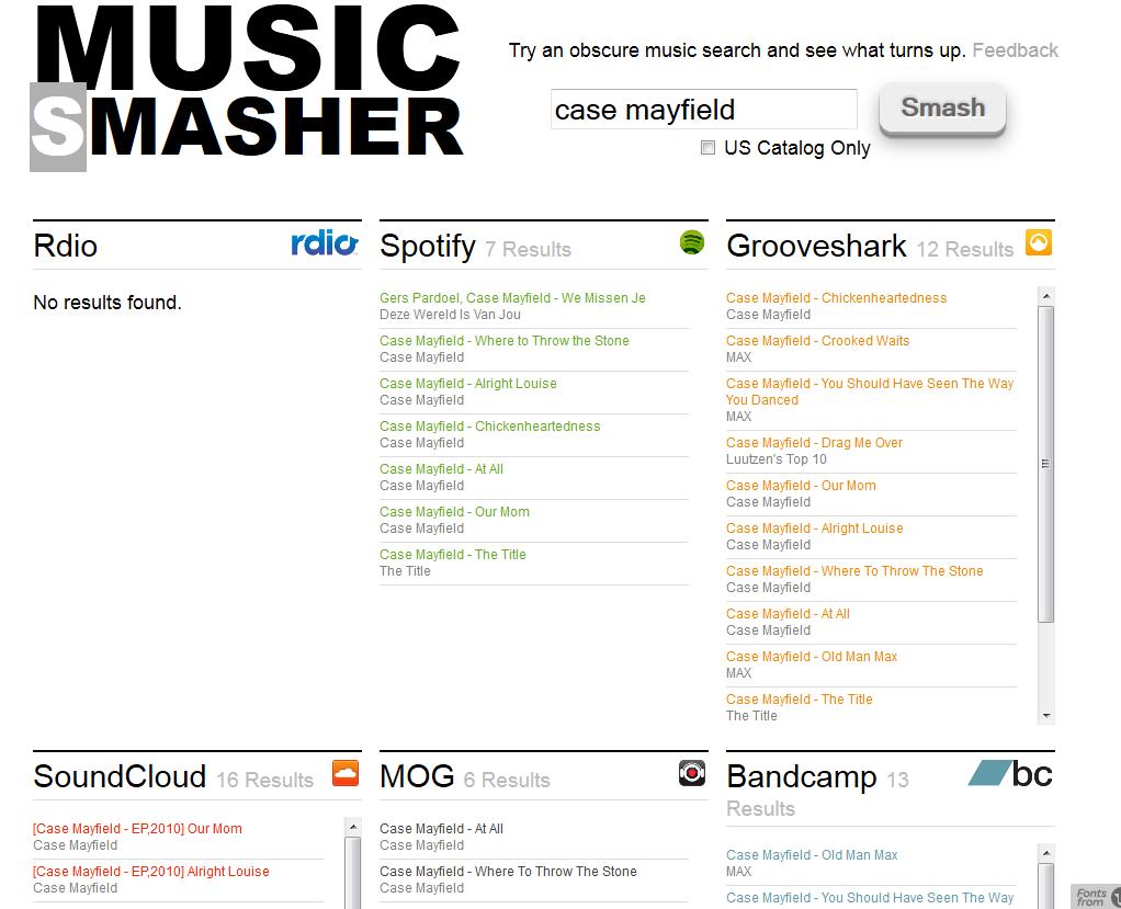 Musicsmasher: In één keer zoeken op Grooveshark, Spotify, Bandcamp en Soundcloud